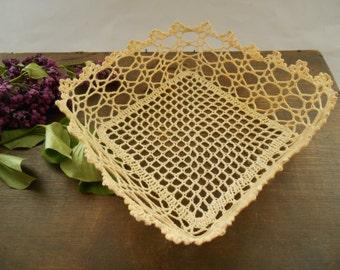 Vintage crocheted basket Beige shabby basket Housewarming Gift Cottage chic storage