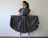 Japanese design-Gray dress-Short sleeve dress-Knee length dress-Spring dress-Cotton Dress-V neck dress-Elegant dress