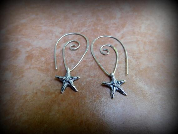 Sterling silver star fish earrings, ocean theme  jewelry, nautical jewelry, beach jewelry, vacation jewelry, graduation gift