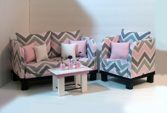 Last one american girl chevron living room set by hkdesignz