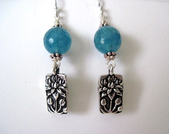 Aqua blue agate earrings