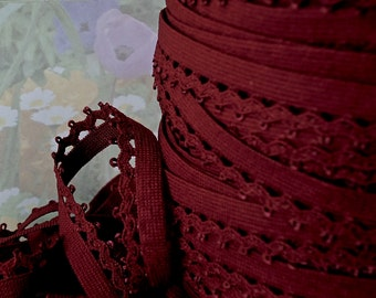 5yd Elastic Red Trim Skinny Stretch Scallop Rick Rack 1/2 inch Picot lace diy Headband Sewing lingerie Single sided bra edging fabric