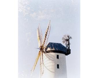 Windmill Fine Art Photograph - Irish Windmill Print - Summer Decor - Northern Ireland - 8x10