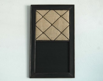 Burlap French Memo Board &  Chalkboard Combo in a Distressed Black Frame