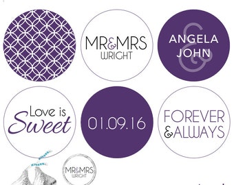 108 - Love is Sweet Sticker's for Hershey's Kisses® Wedding Stickers - Circle pattern .75 inch round