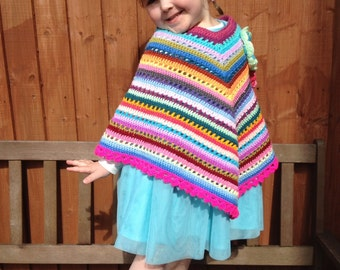 Girls crochet poncho custom-made in choice of colours