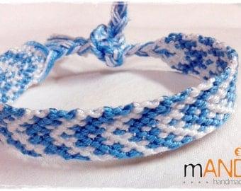 Friendship Bracelet, Macrame, Woven Bracelet, Wristband, Knotted Bracelet - Light blue & white
