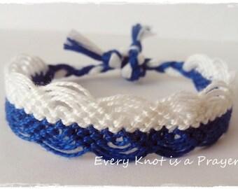 Friendship Bracelet, Macrame, Woven Bracelet, Wristband, Knotted Bracelet - Blue and White
