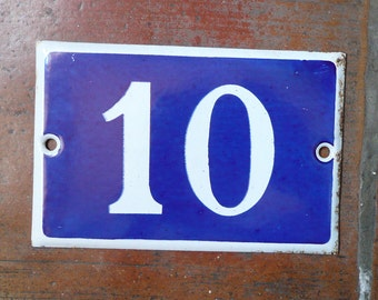 vintage French house number 10 enamel blue and white Enamel Number ten