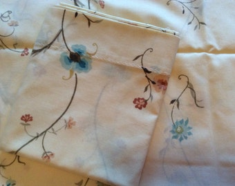 Vintage Pillowcases Blue Pink Brown Flowered, Blue Flowered Pillowcases