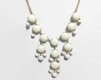 Bubble Statement Necklace, Ivory Bubble Necklace, J Crew Inspired, Ivory, Off White, Ivory Statement Necklace,