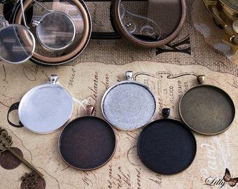 5 DIY 38mm 1.5 inch Textured Blank Photo Pendant Trays ~ Vintage & Antique Cabochon Bezel Settings ~ 38mm Pendant Trays ~