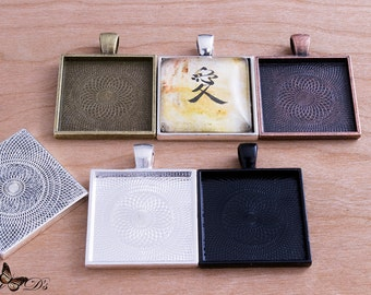 10- 1 inch Square Photo Trays - Blank Bezel Cabochon - Shiny - Antique - Vintage - 5 Colors - Mix N Match