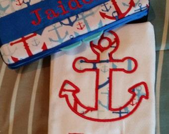 Nautical Travel Wipe Case And Burp Cloth