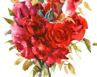 Roses, deep red Burgundy color, Crimson, Original watercolor painting, 11 x 15 in, dark red floral wall art, deep red roses