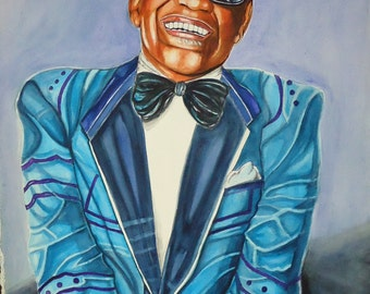 The One And Only Ray Charles-Original Watercolor Painting