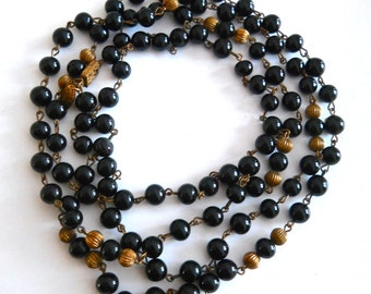 """Black Bead MIRIAM HASKELL Necklace, Opera Length 48"""" Long, Vintage Signed"""
