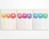 Modern art // Baby girl nursery // Scandinavian art // Colorful wall art // Colorful painting // Original flowers in a row painting - SALE