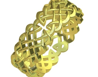 Gold Celtic Wedding Ring With Cut-Through Dara Knot Design & in 10K 14K 18K or Palladium, Made in Your Size Cr-1041