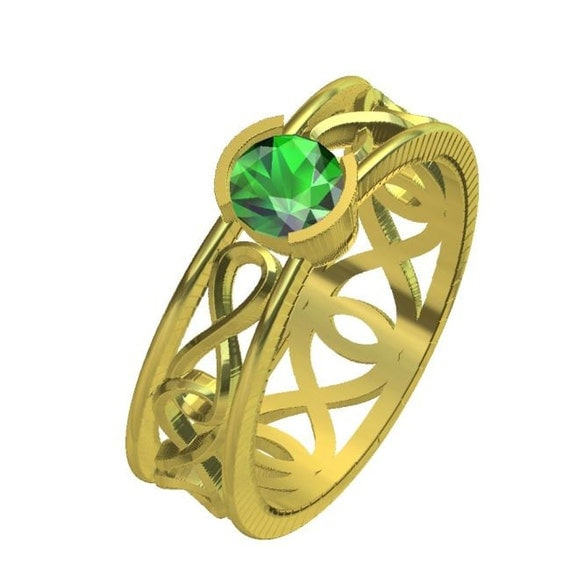 gold celtic emerald ring with infinity symbol by