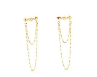 Studs and Chain/Dangle Earrings/Gift Ideas/Gold Earrings/Chain Earrings/Pyramid Studs/Dangle Chain Studs/Dainty Jewelry/Earrings