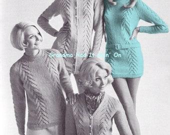 KNITTING PATTERN - Cable Sweater Dress - Mod Mini Dress - Vintage Dress Pattern - PDF Instant Download - Cardigan - Cable Shift Dress