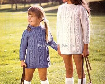 Knitting Pattern Vintage Aran Dress - Trellis Mini Dress - PDF Instant Download - Digital Pattern - Sweater Cable Dress - Tunic Dress