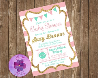 Pink Stripe Baby Shower 5x7 Invitation Printable