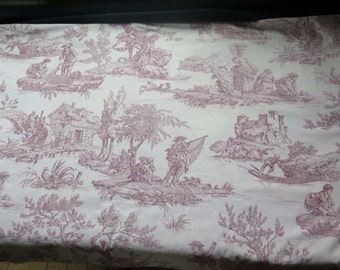 Vintage French Toile DE Jouy Fabric-Home Decor. Countryside-
