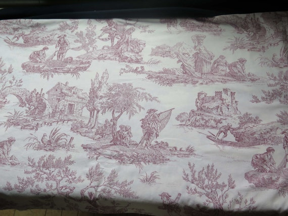 Vintage French Toile DE Jouy Fabric Home Decor Countryside