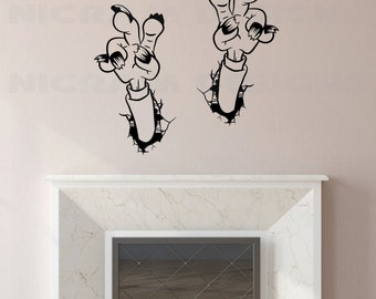 Zombie Hands Wall Art Vinyl Funny Undead Claws Sticker Scary Monster Decal