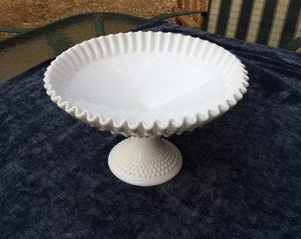 Vintage hobnail milk glass fruit dish