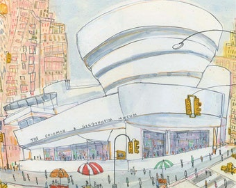 GUGGENHEIM NEW YORK Art, Signed Print City Watercolor Painting, Architecture Nyc Taxi, New York Wall Art, Manhattan Building Clare Caulfield