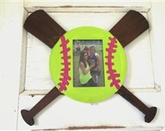 Unfinished (BASEBALL) Whimsical Picture Frame Wooden Paintable Wood