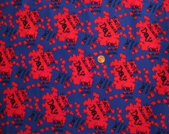 Canada Day - Maple leaves fabric - blue background and red flying  leaves - half yard x 1