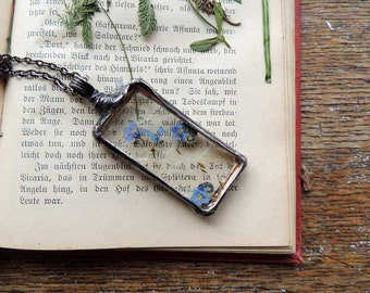 Wish Necklace, forgets me nots,dandelion,  terrarium necklace, botanical,science jewelry ,natural specimen ,real plant jewelry