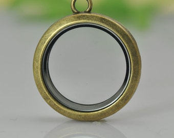 1pcs Antique Brass Glass Picture/ Photo Locket Frame Pendant , Photo Box Charms Pendant, (Fits 25mm on inside)