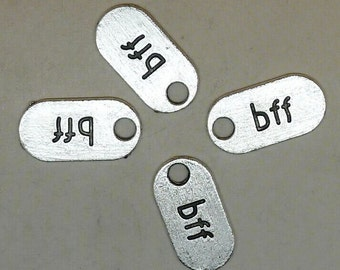 30pcs bff Charms, 10x18mm Antique Silver bff Charms Tag, Best Friend Forever Charms Pendant