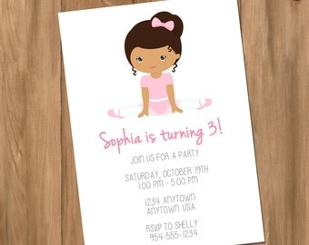Ballerina - Ballet - Dance - Birthday Party Invitation (Digital - DIY)