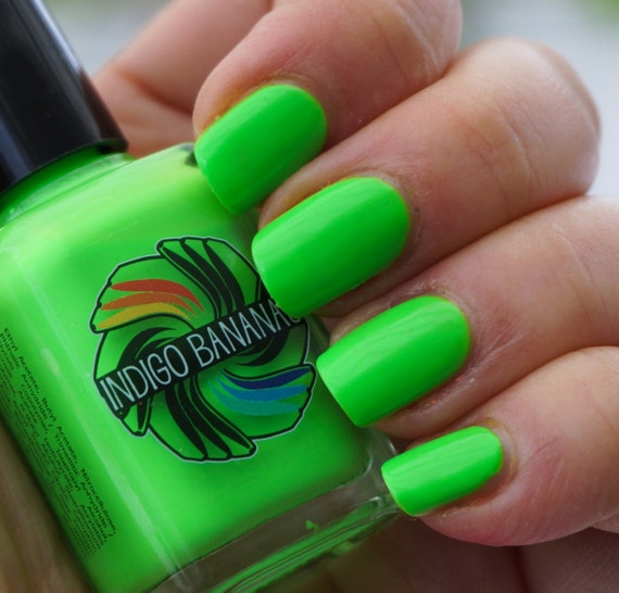 Sulfur Green - bright green neon creme - nail polish by Indigo Bananas