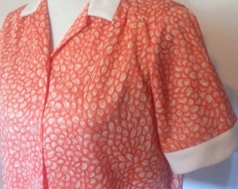 Vintage 1960s Womens Lunch Lady Style Polyester Blouse Size Large