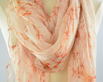 large silk scarf, hand dyed orange scarf, light weight silk chiffon scarf, beach cover ups, batik fabric, hand painted neck scarf,gift scarf