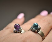 Crystal Ball Ring. Crushed Pyrite ring.