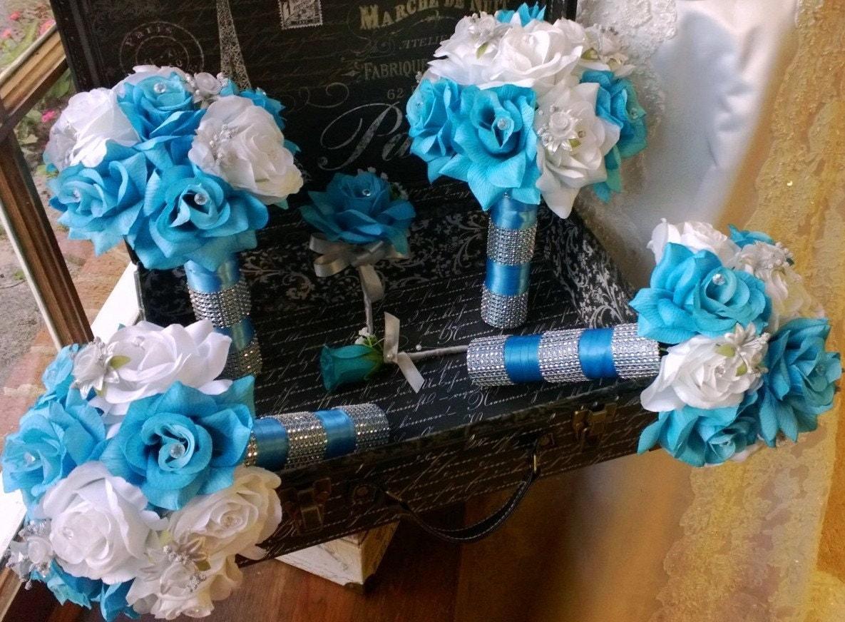 17 piece malibu blue white silver wedding flower set bridal zoom dhlflorist Gallery
