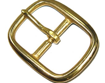 "Center Bar Buckle 1-1/4"" (3.2 cm) Solid Brass Hand Polished 1721-01"