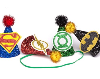 Superhero Party Hats Superhero Inspired Mini Party Hats Superman The Flash Green Lantern Batman MINIATURE Party Hat