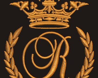 """Crown, laurel wreath and the monogram letter """"R"""" - Machine embroidery design,   design tested."""