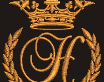 "Crown, laurel wreath and the monogram letter ""H"" - Machine embroidery design,   design tested."