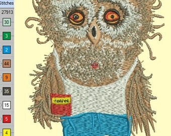tired Owl  - Machine Embroidery Design