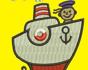 boat and sailor, 3 sizes  - Machine Embroidery Design